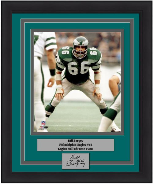 "Bill Bergey in Action Philadelphia Eagles 8"" x 10"" Framed Football Photo with Engraved Autograph - Dynasty Sports & Framing"