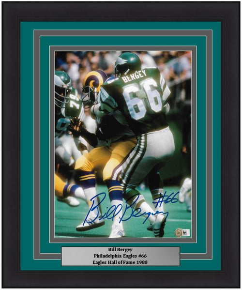 "Bill Bergey v. Rams Philadelphia Eagles Autographed NFL Football 8"" x 10"" Framed and Matted Photo - Dynasty Sports & Framing"