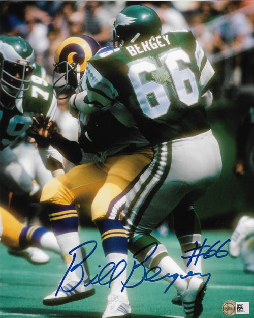 "Bill Bergey v. Rams Philadelphia Eagles Autographed NFL Football 8"" x 10"" Photo - Dynasty Sports & Framing"