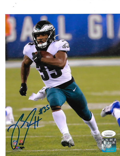 Boston Scott in Action v. New York Giants Philadelphia Eagles Autographed Football Photo - Dynasty Sports & Framing