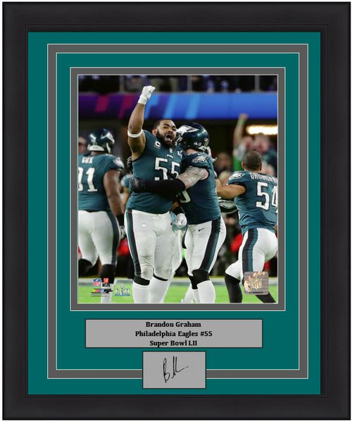 "Philadelphia Eagles Super Bowl LII Brandon Graham Celebration Engraved Autograph NFL Football 8"" x 10"" Framed & Matted Photo (Dynasty Signature Collection)"