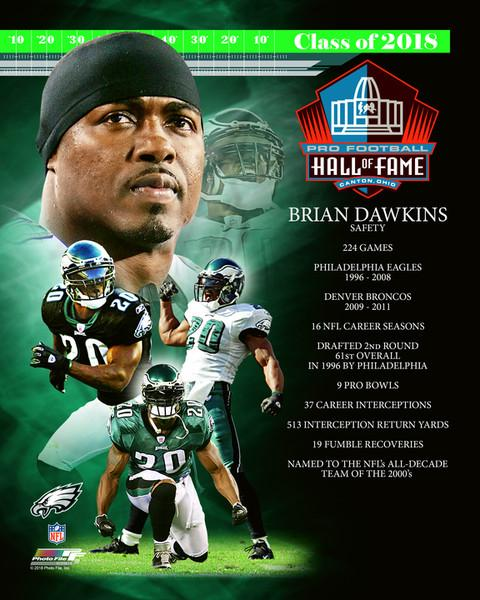 "Brian Dawkins Hall of Fame Collage Philadelphia Eagles NFL Football 8"" x 10"" Photo - Dynasty Sports & Framing"