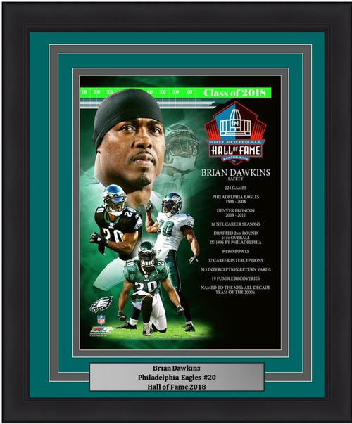 "Brian Dawkins Hall of Fame Collage Philadelphia Eagles NFL Football 8"" x 10"" Framed and Matted Photo - Dynasty Sports & Framing"