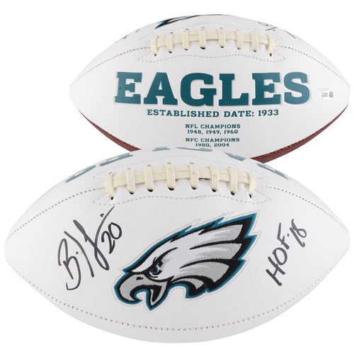 Brian Dawkins Philadelphia Eagles Autographed NFL White Panel Football with Hall of Fame Inscription