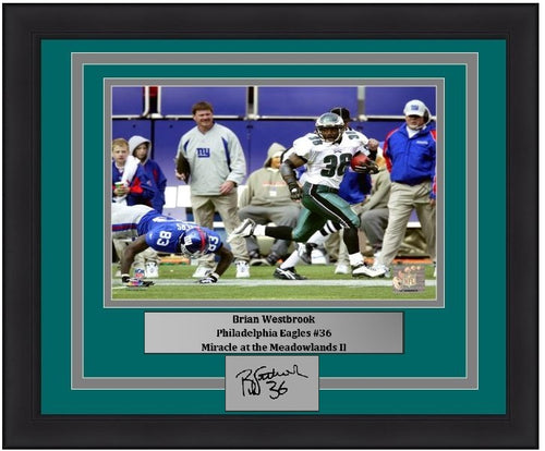 "Brian Westbrook Punt Return v. Giants Philadelphia Eagles NFL Football 8"" x 10"" Framed and Matted Photo with Engraved Autograph - Dynasty Sports & Framing"