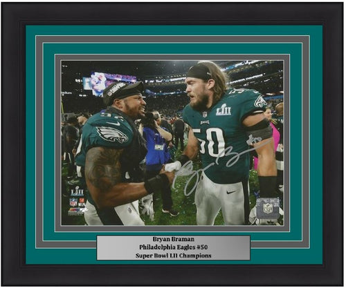 Bryan Braman Philadelphia Eagles Super Bowl LII Champions Autographed 8x10 Framed and Matted Photo - Dynasty Sports & Framing
