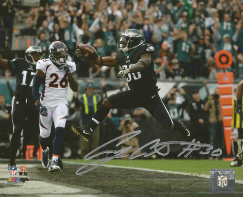Philadelphia Eagles Corey Clement Autographed 3-Touchdown Game NFL Football Photo