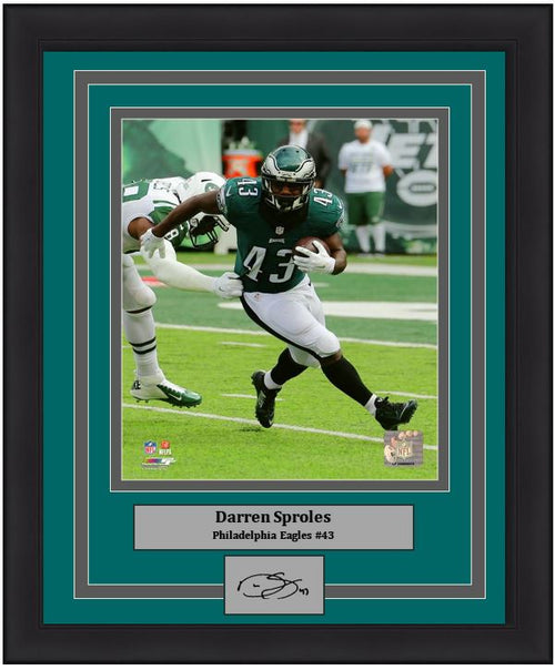 "Darren Sproles v. New York Jets Philadelphia Eagles 11"" x 14"" NFL Football Framed and Matted Photo with Engraved Autograph - Dynasty Sports & Framing"