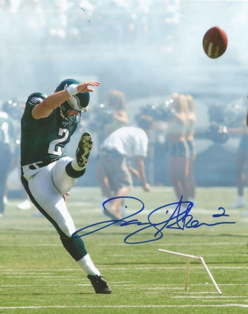 Philadelphia Eagles David Akers Kick at Veterans Stadium Autographed NFL Football Photo