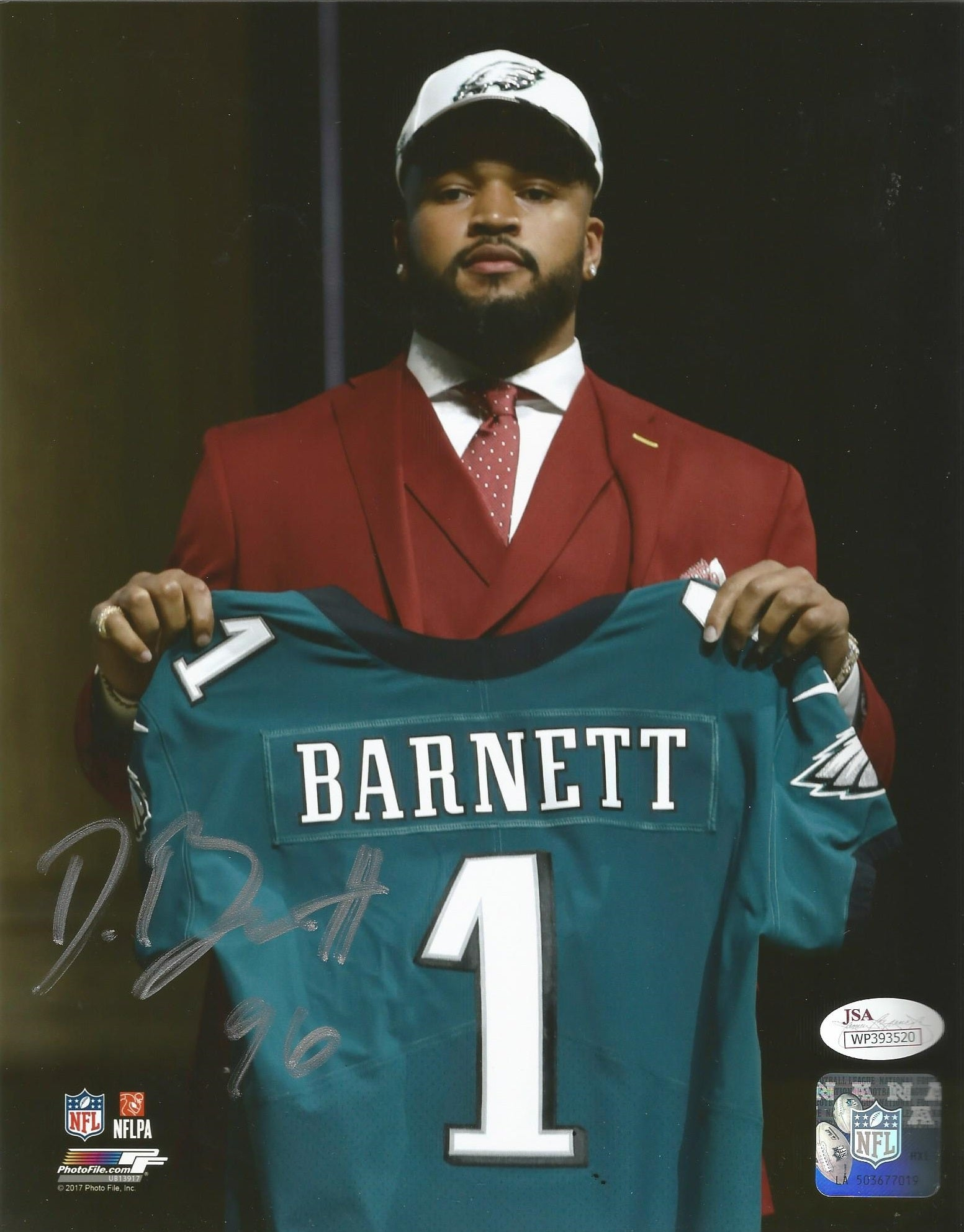 the best attitude 1c3ab 1ae42 Philadelphia Eagles Derek Barnett Draft Day Autographed NFL Football Photo