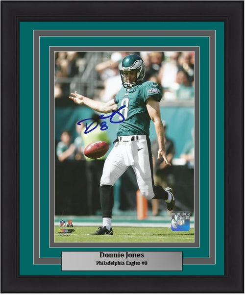 "Donnie Jones in Action Philadelphia Eagles Autographed NFL Football 8"" x 10"" Framed and Matted Photo - Dynasty Sports & Framing"