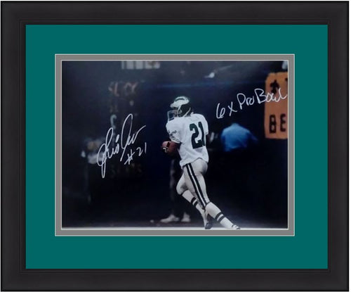 Eric Allen Running in the Backfield Philadelphia Eagles Autographed NFL Football Framed and Matted Photo with 6-Time Pro Bowl Inscription