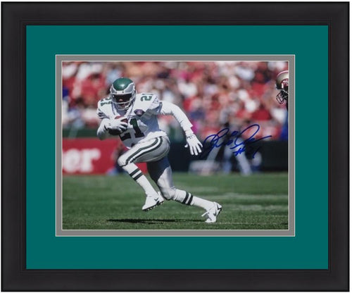 Philadelphia Eagles Eric Allen Running On the Field Autographed NFL Football Framed and Matted Photo