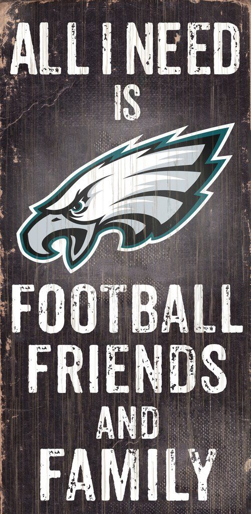 Philadelphia Eagles Football and My Friends & Family Wood Sign - Dynasty Sports & Framing