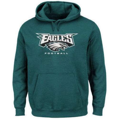 Philadelphia Eagles Majestic Critical Victory Pullover Hooded Sweatshirt (Green) - Dynasty Sports & Framing