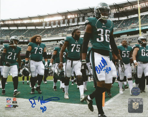 "Deiondre' Hall & Treyvon Hester in Action Philadelphia Eagles Autographed NFL Football 8"" x 10"" Photo"