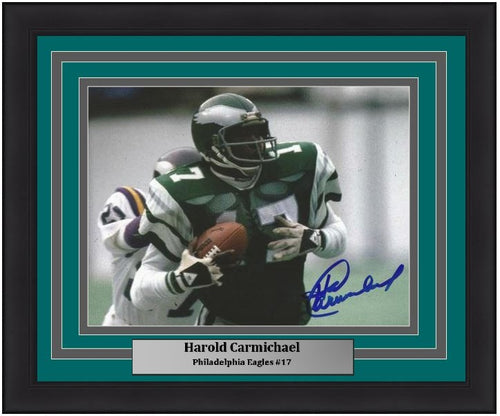 "Harold Carmichael Catch and Run Philadelphia Eagles Autographed NFL Football 8"" x 10"" Framed and Matted Photo"