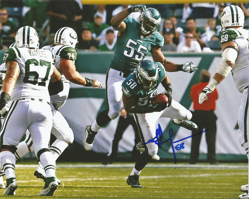 Jordan Hicks Philadelphia Eagles Autographed Photo (Interception) - Dynasty Sports & Framing