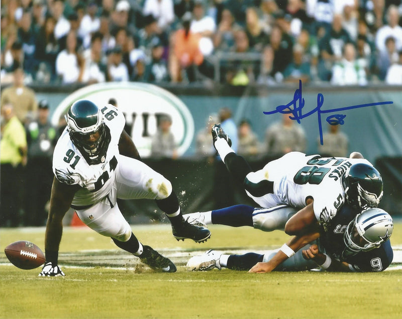 Jordan Hicks Philadelphia Eagles Autographed Photo (Crushing Tony Romo) - Dynasty Sports & Framing