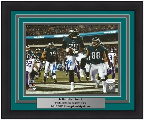 Philadelphia Eagles LeGarrette Blount Autographed 2017 NFC Championship Game NFL Football Framed and Matted Photo