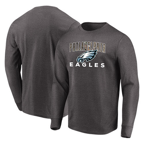 Philadelphia Eagles NFL Football Charcoal Gray Long Sleeve Team Mascot T-Shirt