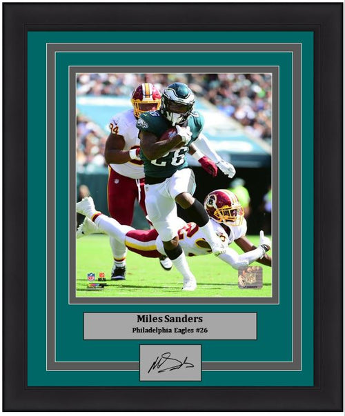Miles Sanders First NFL Game Philadelphia Eagles 8x10 Framed Football Photo with Engraved Autograph - Dynasty Sports & Framing