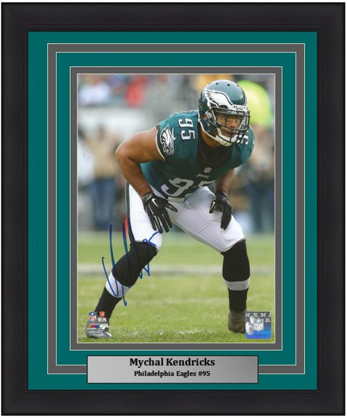 "Mychal Kendricks in Action Philadelphia Eagles Autographed NFL Football 8"" x 10"" Framed and Matted Photo"