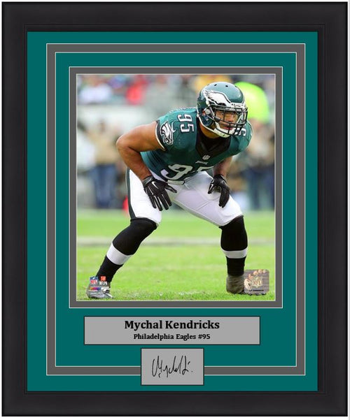 "Mychal Kendricks in Action Philadelphia Eagles NFL Football 8"" x 10"" Framed and Matted Photo with Engraved Autograph"