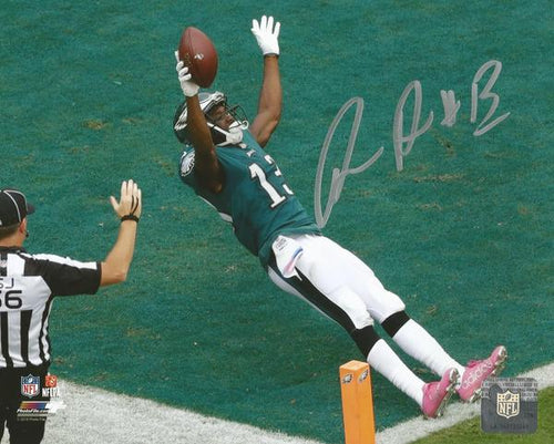 "Nelson Agholor Falling into the Endzone Philadelphia Eagles Autographed NFL Football 16"" x 20"" Photo"