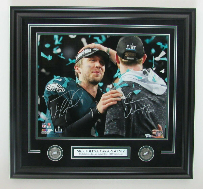 "Nick Foles & Carson Wentz Philadelphia Eagles Autographed Super Bowl LII Champions NFL Football 16"" x 20"" Framed and Matted Photo"