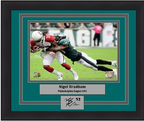 Nigel Bradham Making a Tackle Philadelphia Eagles NFL Football Framed and Matted Photo with Engraved Autograph