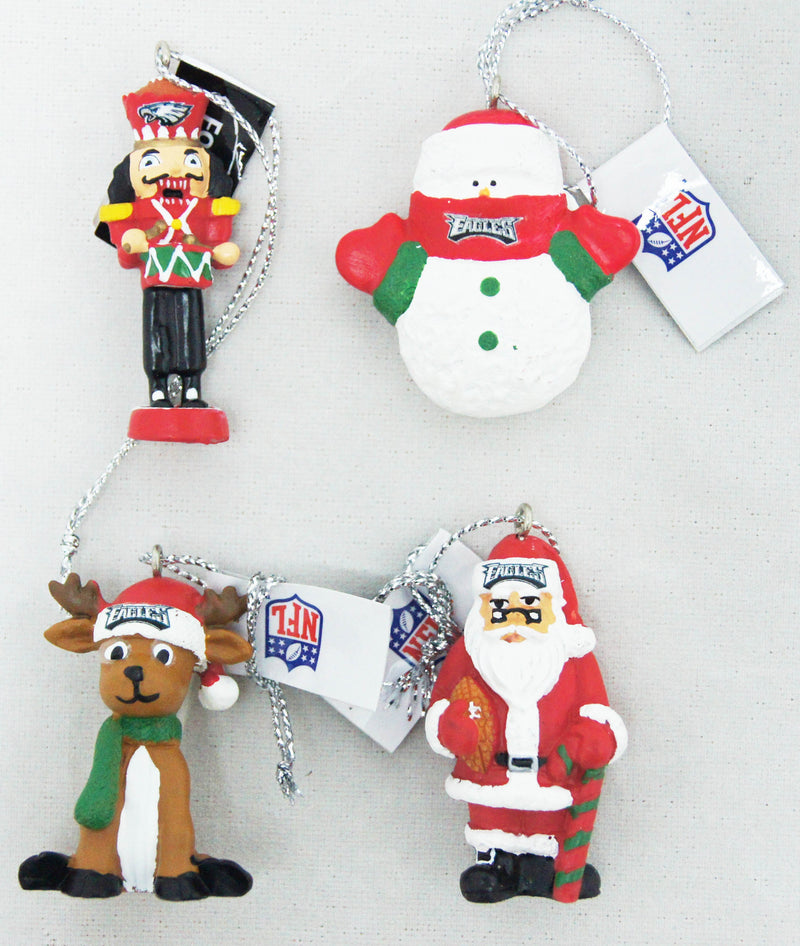 Philadelphia Eagles NFL Football 4-Piece Holiday Ornament Set