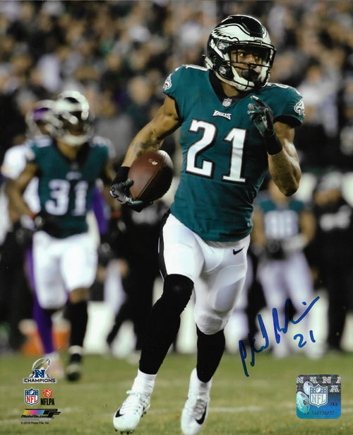 "Patrick Robinson 2018 NFC Championship Pick Six Philadelphia Eagles Autographed NFL Football 8"" x 10"" Photo (Run)"
