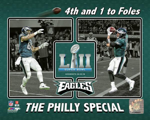 "Philadelphia Eagles Super Bowl LII Trey Burton/Nick Foles Philly Special Collage NFL Football 8"" x 10"" Photo"