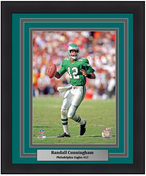 "Randall Cunningham in Action Philadelphia Eagles NFL Football 8"" x 10"" Framed & Matted Photo - Dynasty Sports & Framing"