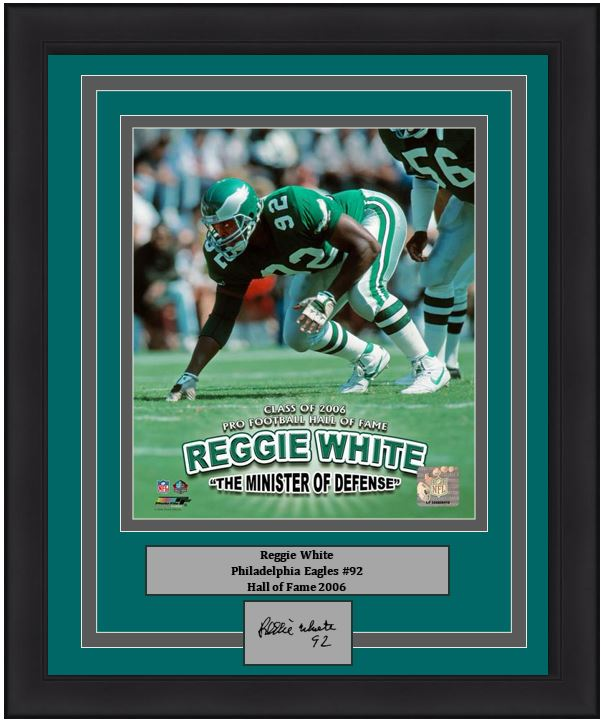 "Philadelphia Eagles Reggie White Minister of Defense Engraved Autograph NFL Football 8"" x 10"" Framed & Matted Photo (Dynasty Signature Collection)"