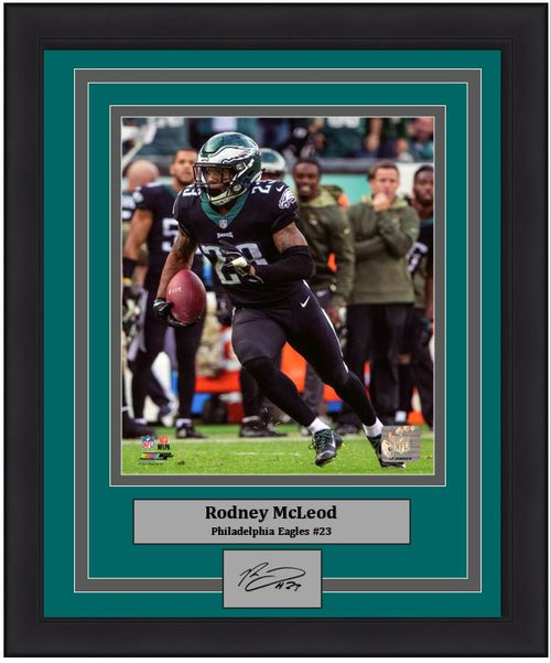 Rodney McLeod in Action Philadelphia Eagles Framed Football Photo with Engraved Autograph - Dynasty Sports & Framing