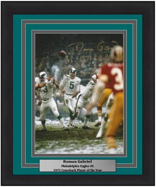 "Roman Gabriel v. Redskins Philadelphia Eagles Autographed NFL Football 8"" x 10"" Framed and Matted Photo with 1973 Comeback Player of the Year Inscription"