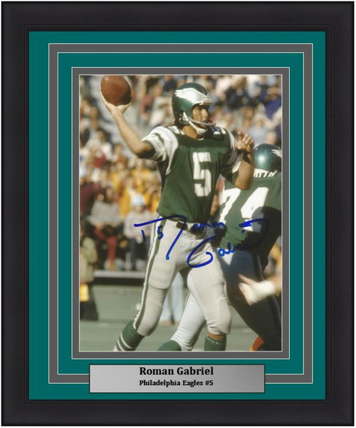 "Roman Gabriel Throw Philadelphia Eagles Autographed NFL Football 8"" x 10"" Framed and Matted Photo"