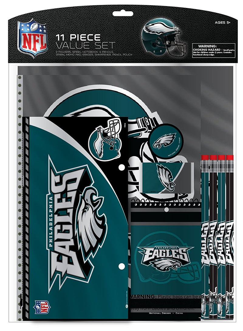 Philadelphia Eagles NFL Football 11-Piece Stationery School Supplies Set