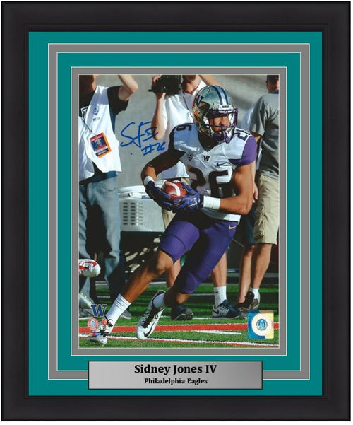Sidney Jones University of Washington Autographed NCAA College Football 8x10 Framed and Matted Photo (Eagles Matting)