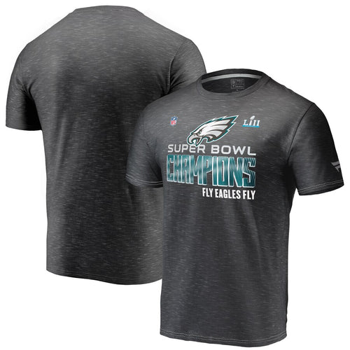 Philadelphia Eagles Heather Black Super Bowl LII Champions Trophy Collection Locker Room T-Shirt