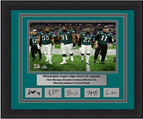 "Philadelphia Eagles Super Bowl LII Gameday Captains (Maragos, Graham, Cox, Jenkins, Wentz) Engraved Autograph NFL Football 8"" x 10"" Framed and Matted Photo (Dynasty Signature Collection)"