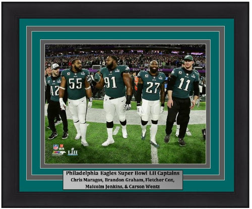"Philadelphia Eagles Super Bowl LII Gameday Captains (Maragos, Graham, Cox, Jenkins, Wentz) NFL Football 8"" x 10"" Framed and Matted Photo"