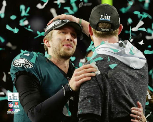 "Nick Foles & Carson Wentz Philadelphia Eagles Super Bowl LII Champions NFL Football 8"" x 10"" Photo - Dynasty Sports & Framing"
