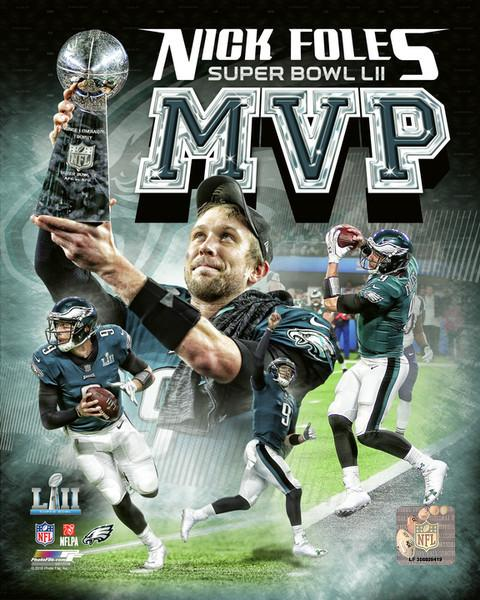 "Philadelphia Eagles Super Bowl LII Champions Nick Foles MVP Collage NFL Football 8"" x 10"" Photo"