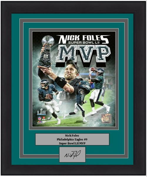 "Philadelphia Eagles Super Bowl LII Champions Nick Foles MVP Collage Engraved Autograph NFL Football 8"" x 10"" Framed & Matted Photo (Dynasty Signature Collection)"