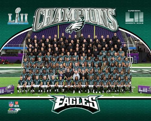 "Philadelphia Eagles Super Bowl LII Champions Team-Line-Up NFL Football 8"" x 10"" Photo - Dynasty Sports & Framing"