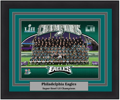 "Philadelphia Eagles Super Bowl LII Champions Team-Line-Up NFL Football 8"" x 10"" Framed and Matted Photo - Dynasty Sports & Framing"