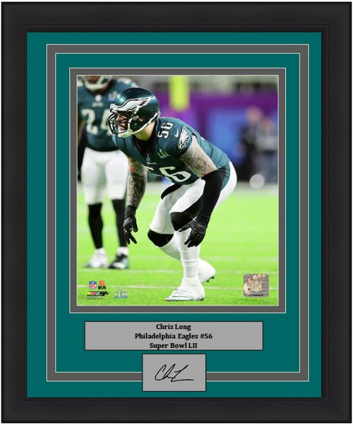 "Philadelphia Eagles Super Bowl LII Chris Long Engraved Autograph NFL Football 8"" x 10"" Framed & Matted Photo (Dynasty Signature Collection)"
